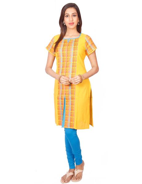 Joshuahs Yellow Cotton Dobby Straigh Cut Kurtiget best offers deals free online at buythevalue.in