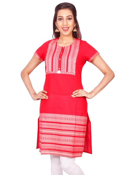 Joshuah's Red Cotton Dobby Straight Cut Kurti