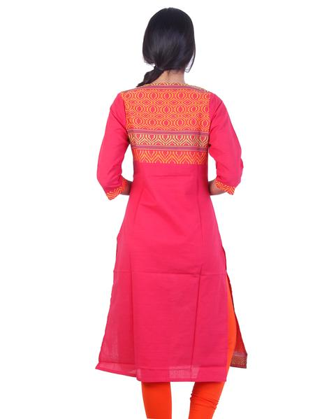 Joshuah's Dark rose Embroidded Design Straight Cut Kurtaget best offers deals free online at buythevalue.in
