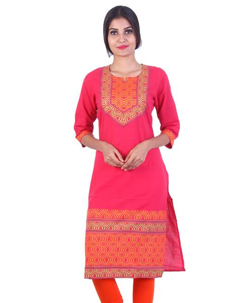 Joshuah's Dark rose Embroidded Design Straight Cut Kurta