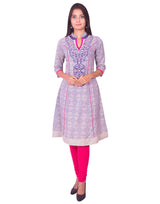Joshuah's Printed Chiku with Pink Embroidery Anarkali Long Sleeves Kurtiget best offers deals free online at buythevalue.in