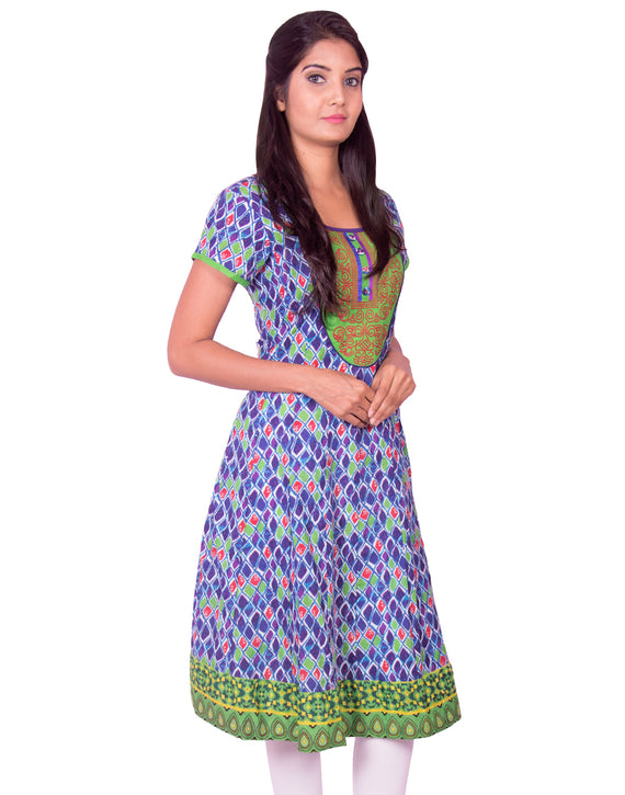 Joshuah's Blue Printed with Embroidery Work Anarkali Kurtiget best offers deals free online at buythevalue.in