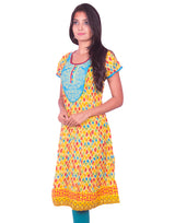 Joshuah's Yellow Printed with Embroidery Work Anarkali Kurtiget best offers deals free online at buythevalue.in
