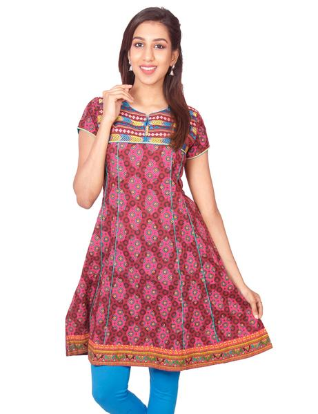 Joshuah's Maroon Printed Short Sleeves Anarkali Kurti