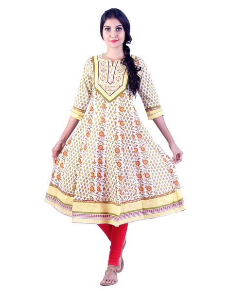 Joshuah's White and Yellow Rose Embroidded Anarkali kurtaget best offers deals free online at buythevalue.in