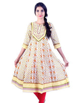 Joshuah's White and Yellow Rose Embroidded Anarkali kurta