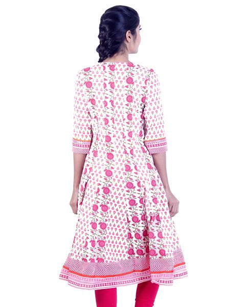 Joshuah's White and Pink Rose Embroidded Anarkali Kurtaget best offers deals free online at buythevalue.in