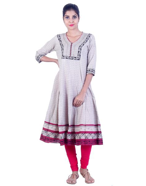 Joshuah's Grey and Red Embroidded Anarkali Kurtaget best offers deals free online at buythevalue.in