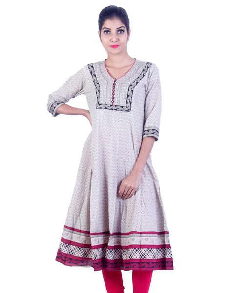 Joshuah's Grey and Red Embroidded Anarkali Kurta