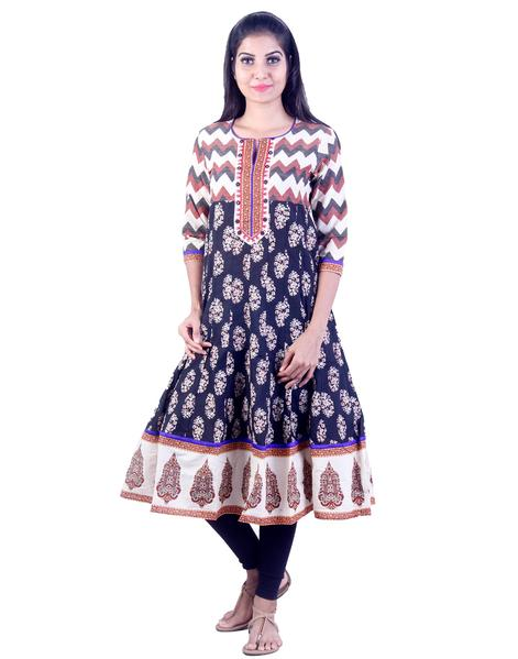 Joshuah's Blue and White Embroidded Design Anarkali Kurtaget best offers deals free online at buythevalue.in