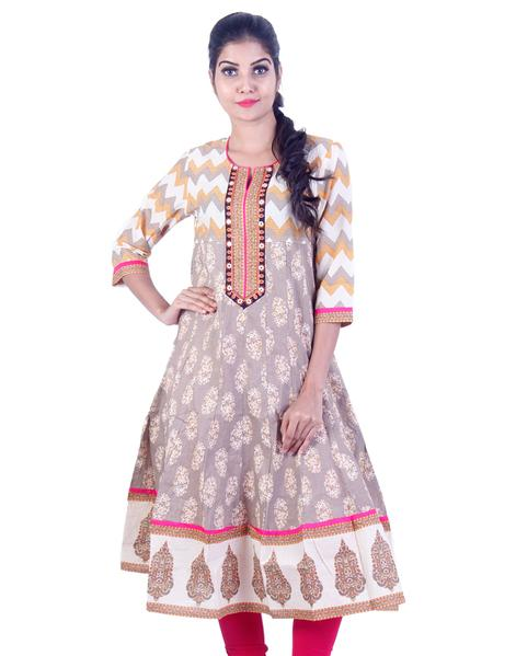Joshuah's Bright White grey Embroidded design Anarkali kurta