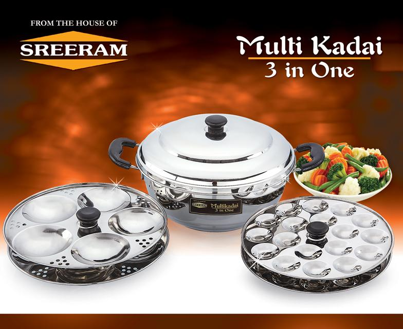 Sreeram Kitchen Multi 3 In One Kadai get best offers deals free and coupons online at buythevalue.in