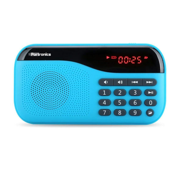 Portronics Blue POR 142 FM radio and Micro sd card get best offers deals free and coupons online at buythevalue.in