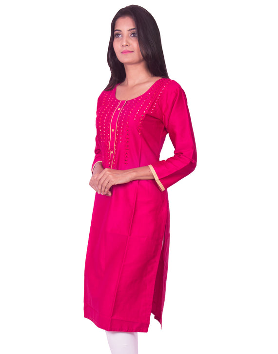 Joshuah's Rani Pink with Mirror Work Cotton Satin Straight Cut Kurtiget best offers deals free online at buythevalue.in