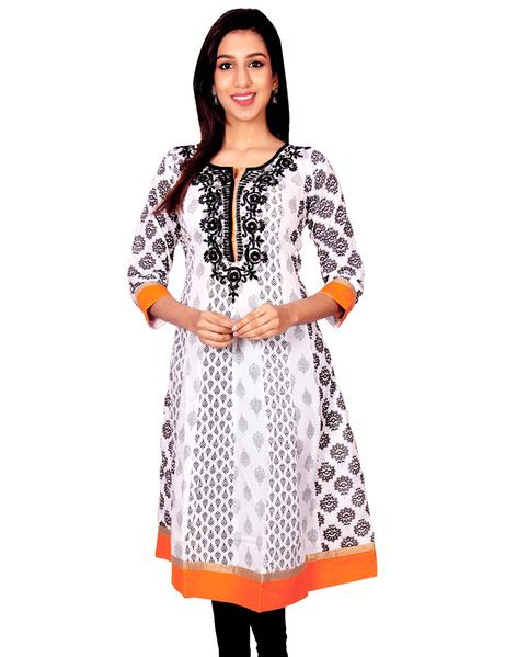 Joshuah's White with Black Printed Embroidery Work Anarkali Kurti
