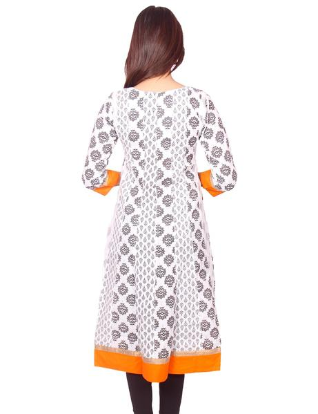 Joshuah's White with Black Printed Embroidery Work Anarkali Kurtiget best offers deals free online at buythevalue.in