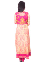 Joshuah's Pale Yellow Printed Back Embroidered Flared Anarkali Kurtiget best offers deals free online at buythevalue.in