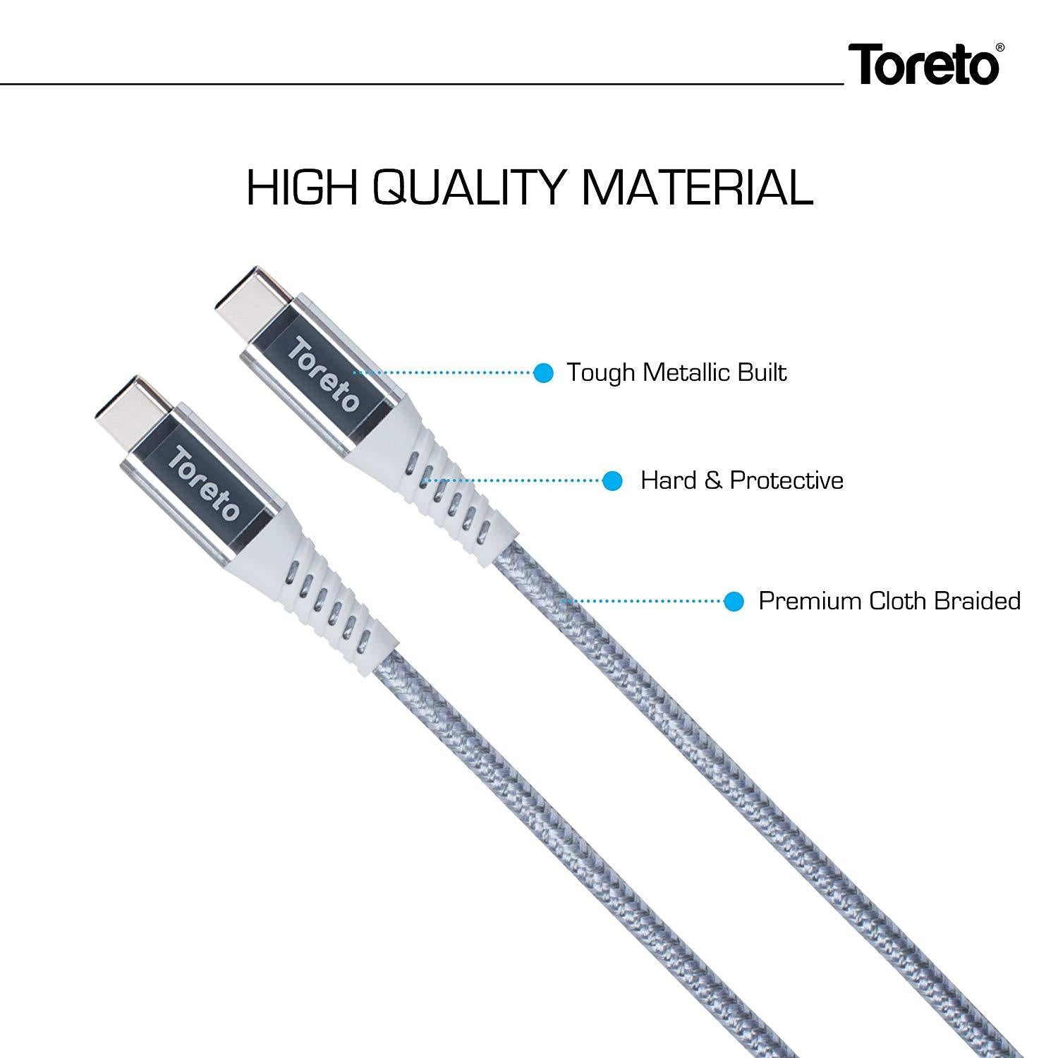 Toreto Silver Type C To Type C Cable