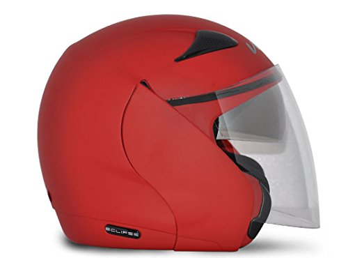 Vega Eclipse ECL-DR-M Open Face Helmet with Double Visor (Dull Red, M)