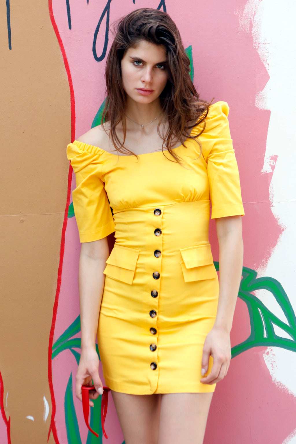 Sun Kissed - Yellow Puff Sleeve Button Dress