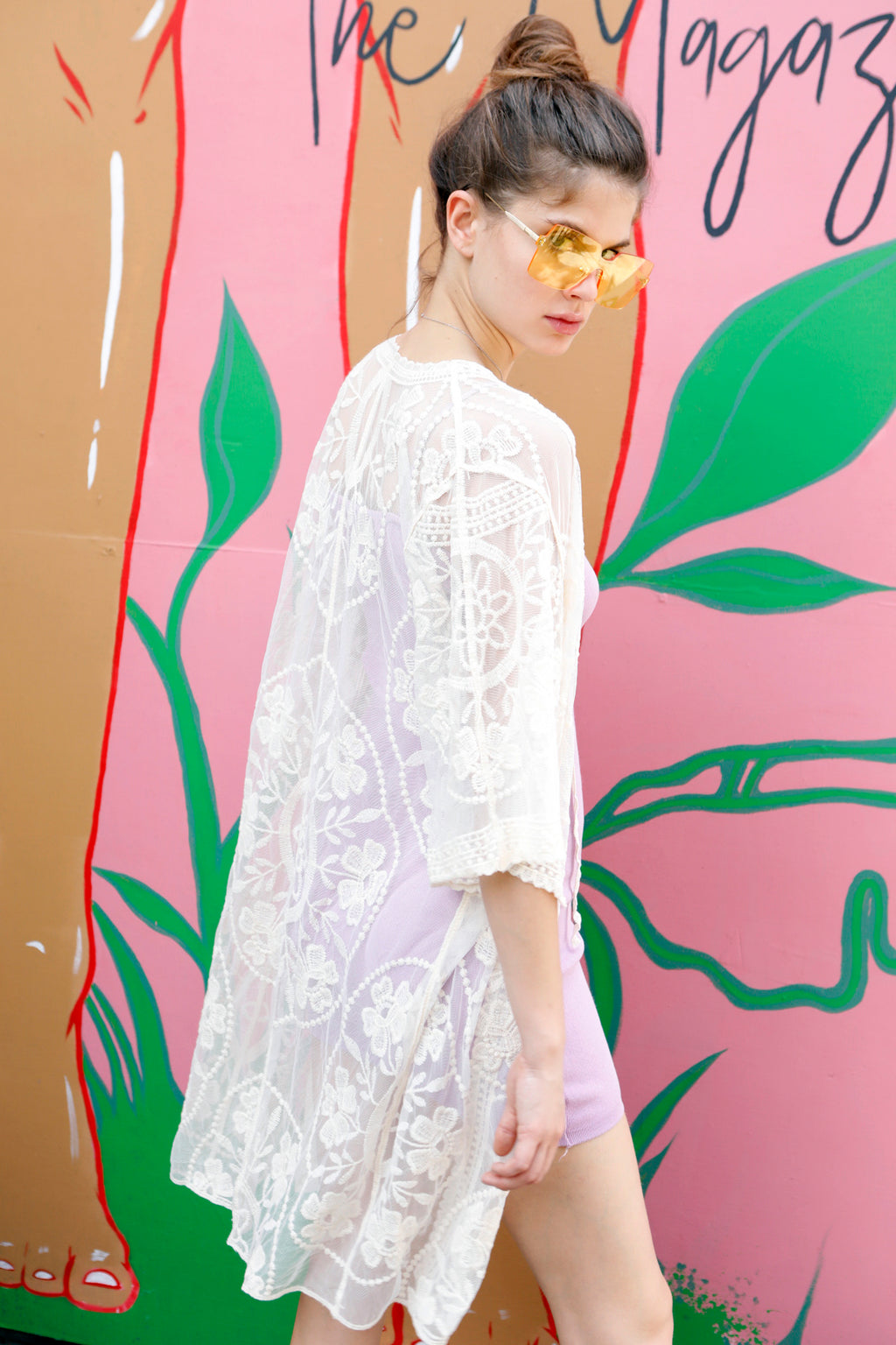 Beach Please - White Lace Tie up Kimono