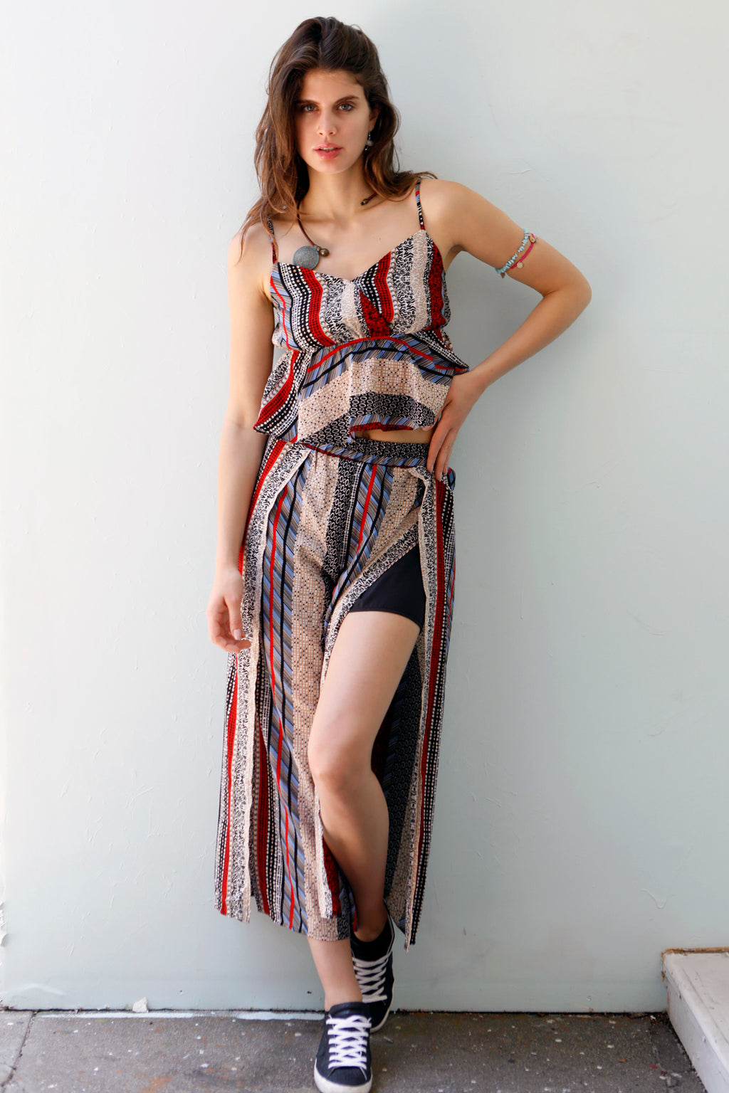 Boho Babe - Chiffon Printed Crop top & Pants Set