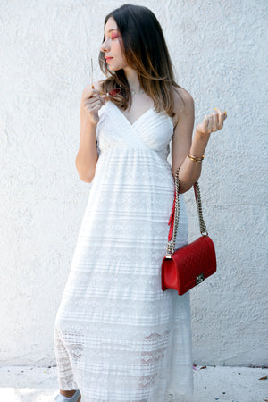 Moonlight - White Crochet Detail Midi Dress