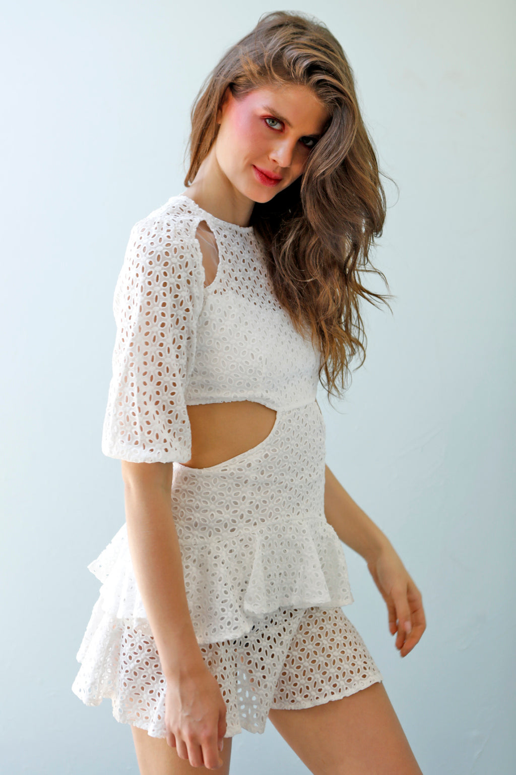 Parisian Beauty - White Broderie Frill Dress