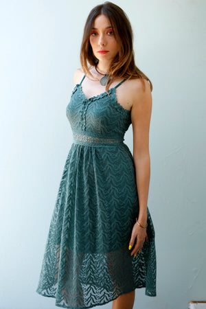 Teal Gem - Crochet Bustier Midi Dress