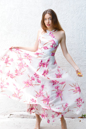 Star Girl - Corsage Floral Midi Dress