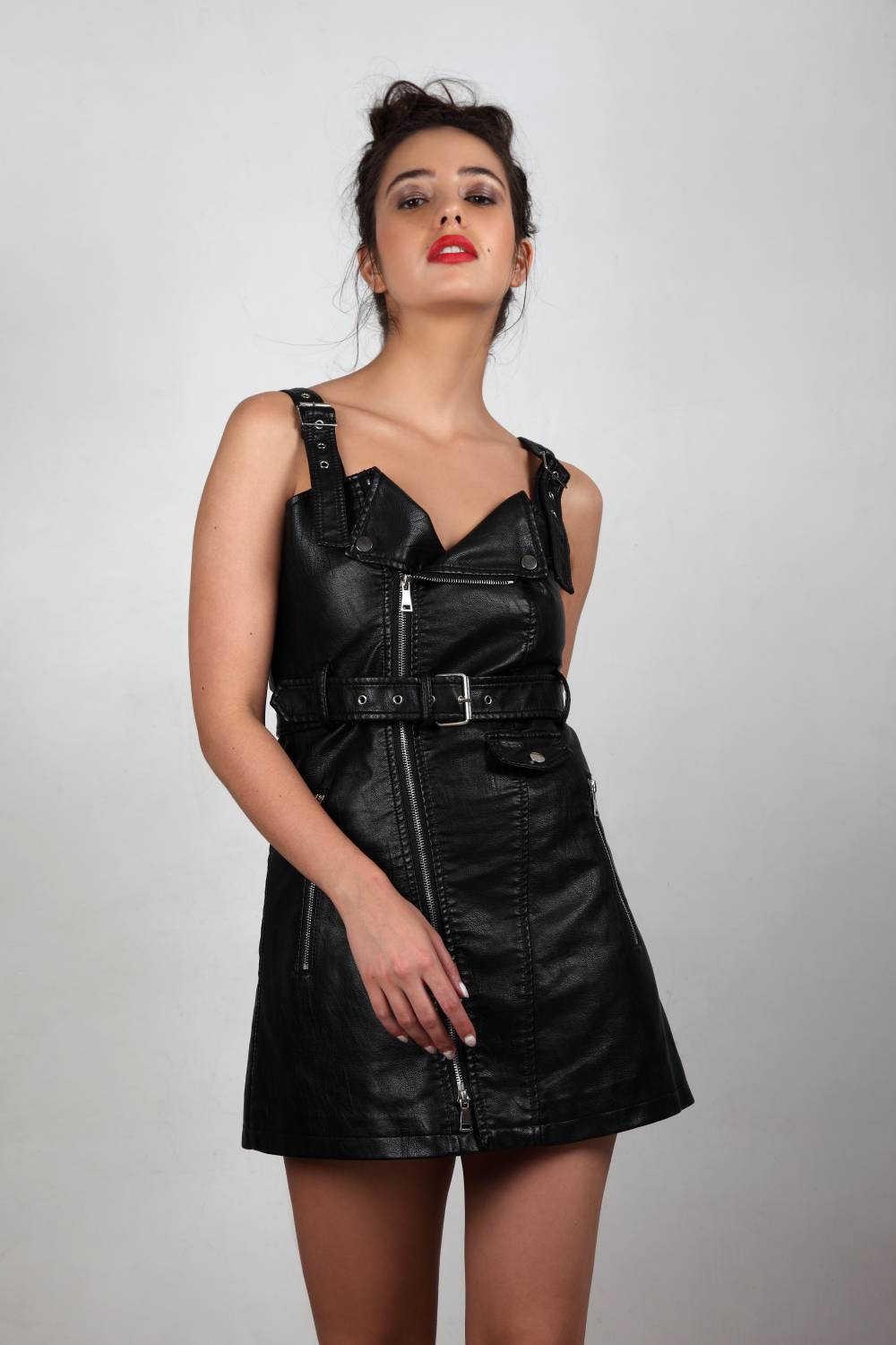 Bad Girls Club - Leather Black Mini Dress