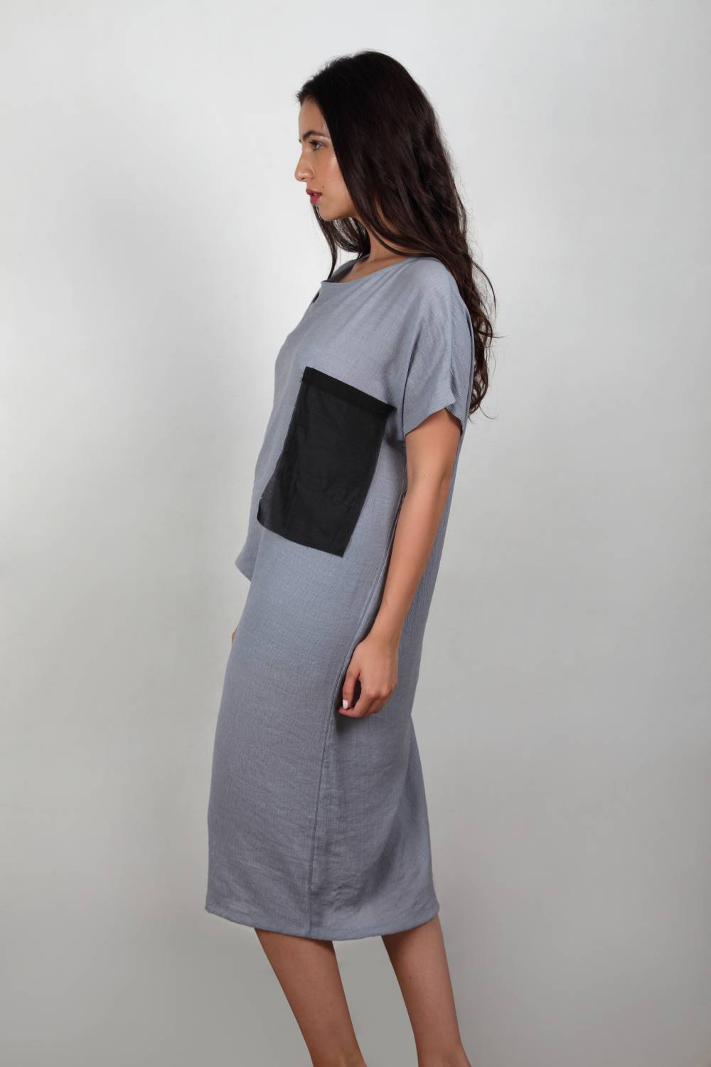 Come Thru - Charcoal Grey Rushed Dress