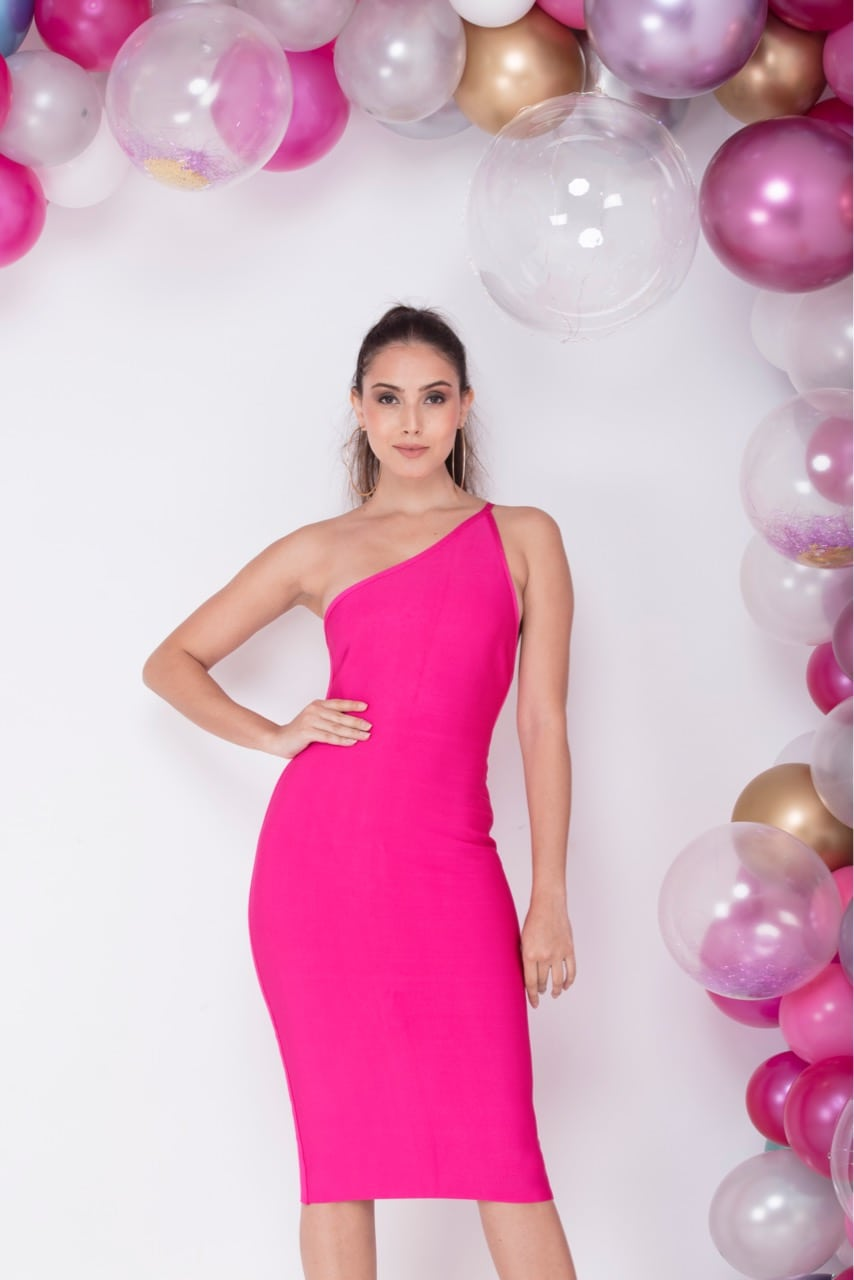 Gram Glam - Pink Bandage Midi Dress