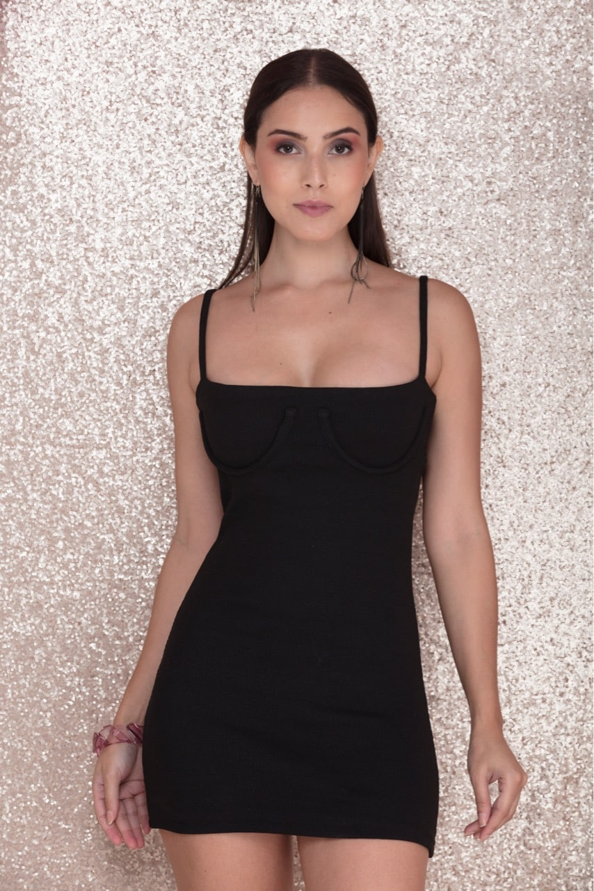 No Sleep - Black C Bustier Mini Dress