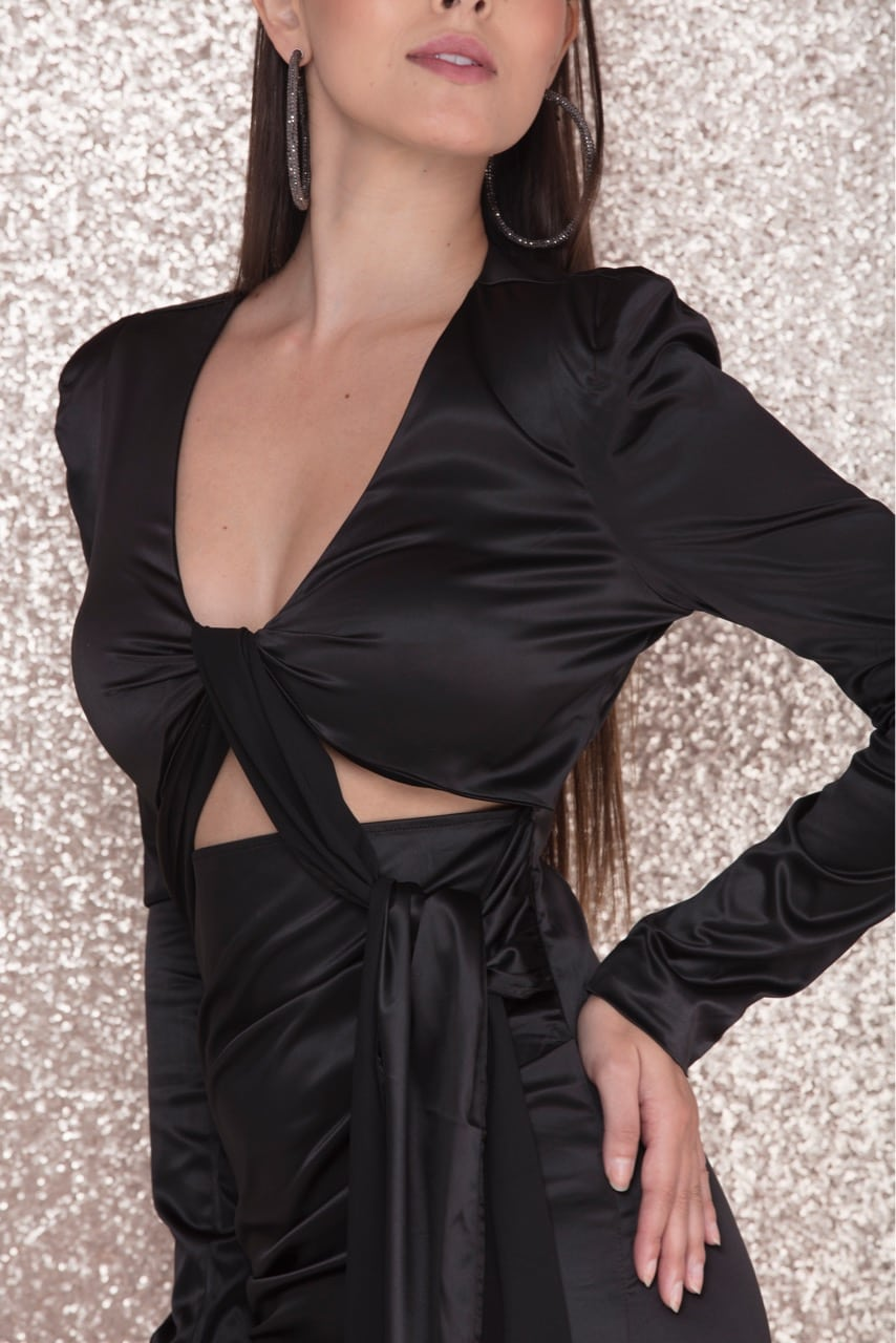 Ky Doll - Black Satin Mini Dress