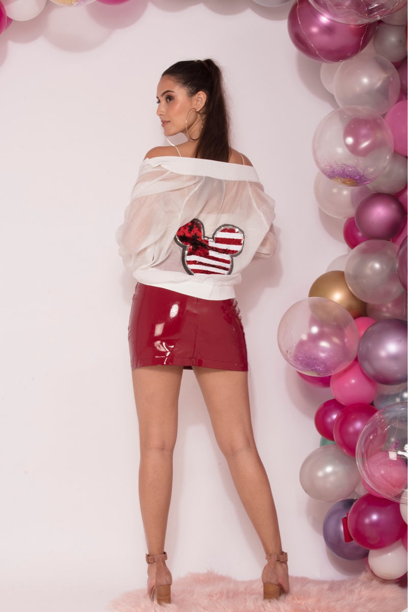Dazzle - Berry Red Faux Leather Mini Skirt