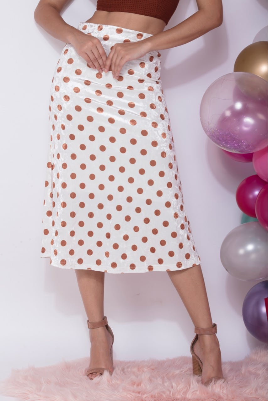 Gingerbread - Tan Polka Velvet Midi Skirt