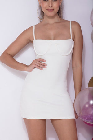 No Sleep - White C Bustier Mini Dress