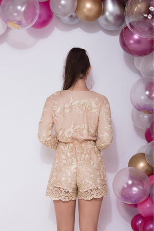 All Night Long - Nude Gold Sheer Romper