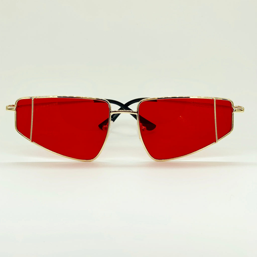 Heat Wave - Gold Slim Retro Sunglasses