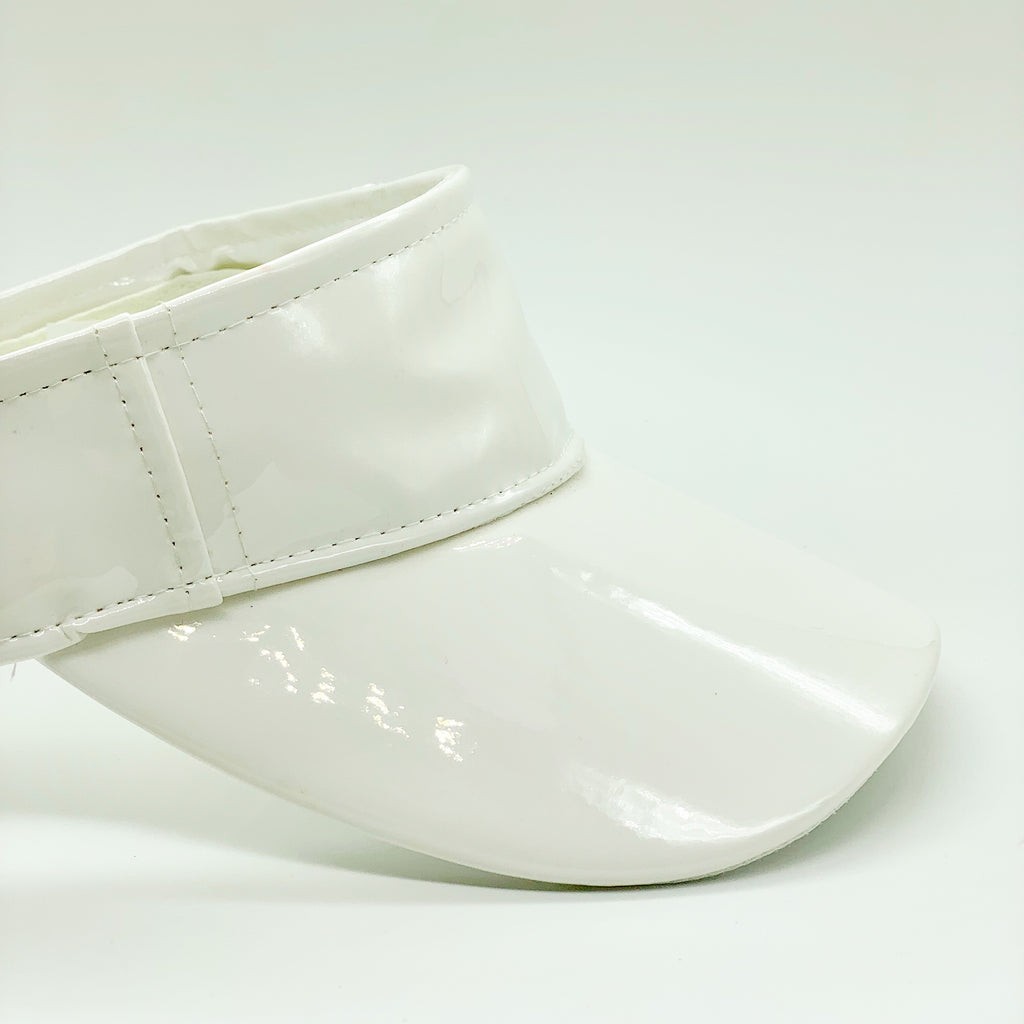 Dolls Kill - Faux Leather Metallic White Visor