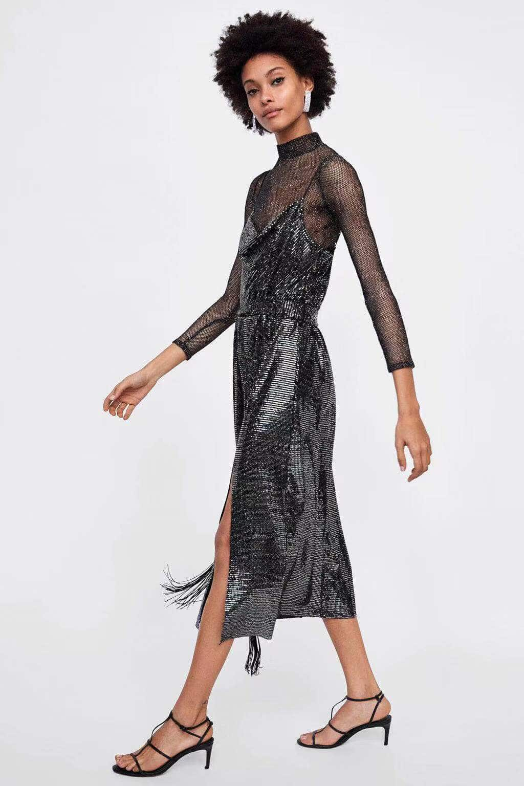 Icicle - Silver Shimmer Midi Dress