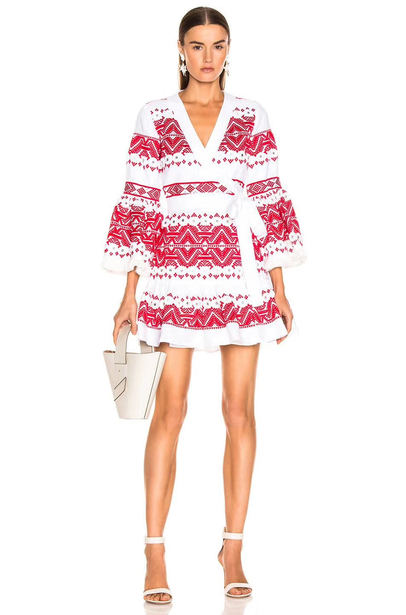 Sunset Dreams - Wrap Boho Mini Dress