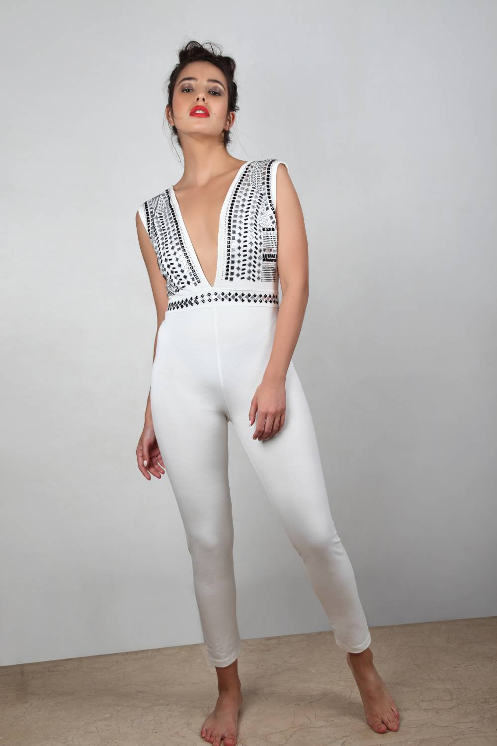Iconic - Studded Plunge Neck Jumpsuit
