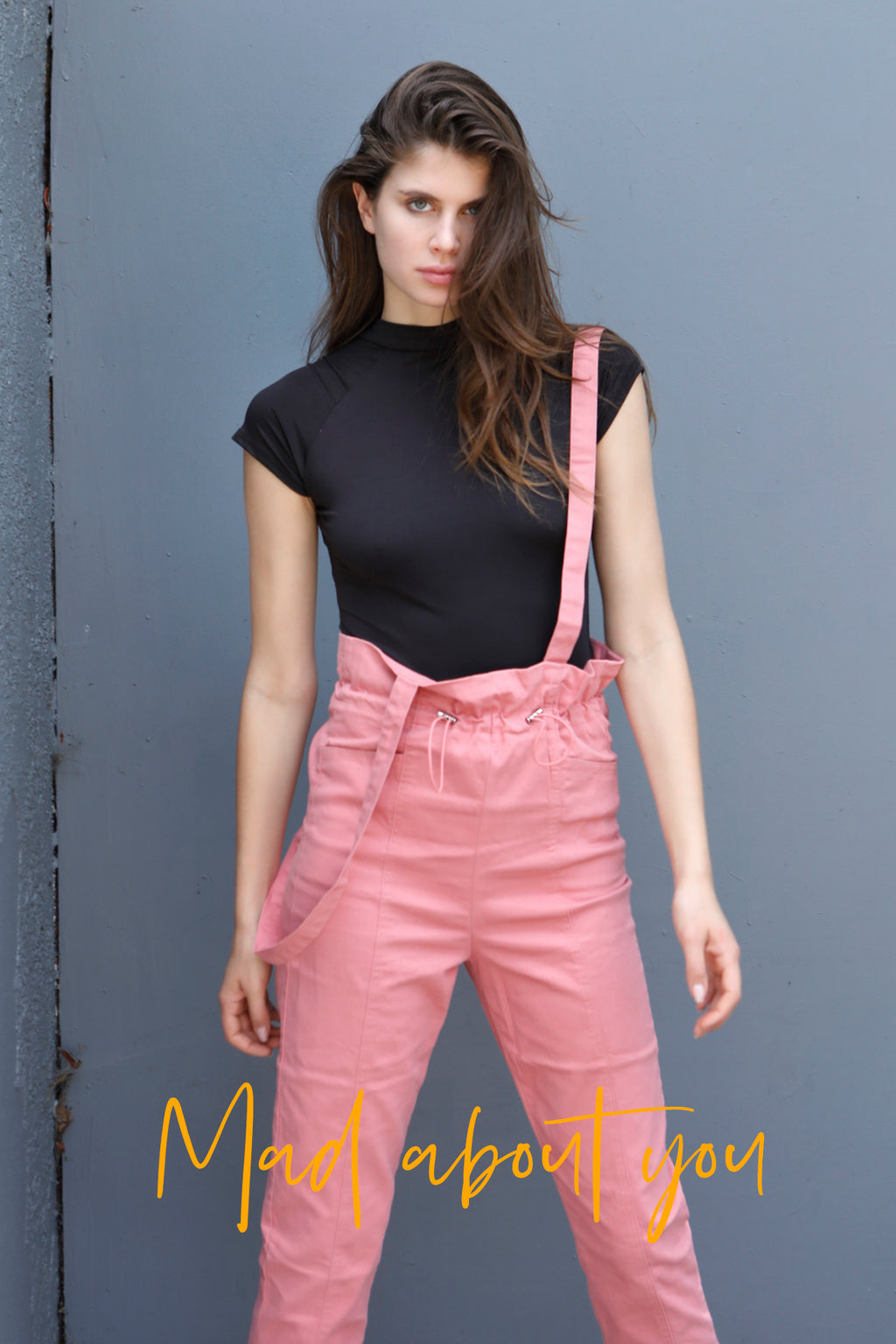 Pink Trophy - Elastic Drawstring Ruched Long Dungaree