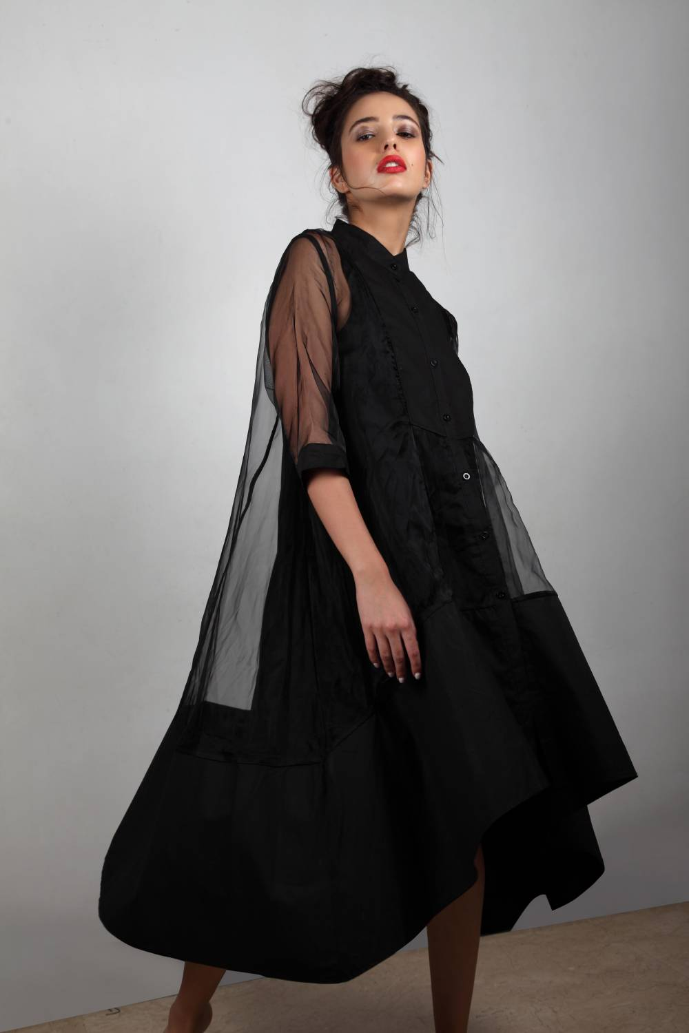 Money Moves - Black Cape Dress