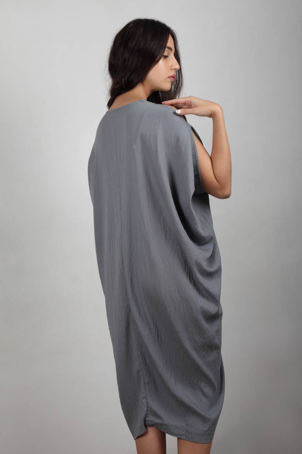 Runway Hit - Charcoal Grey Cowl Drape Dress
