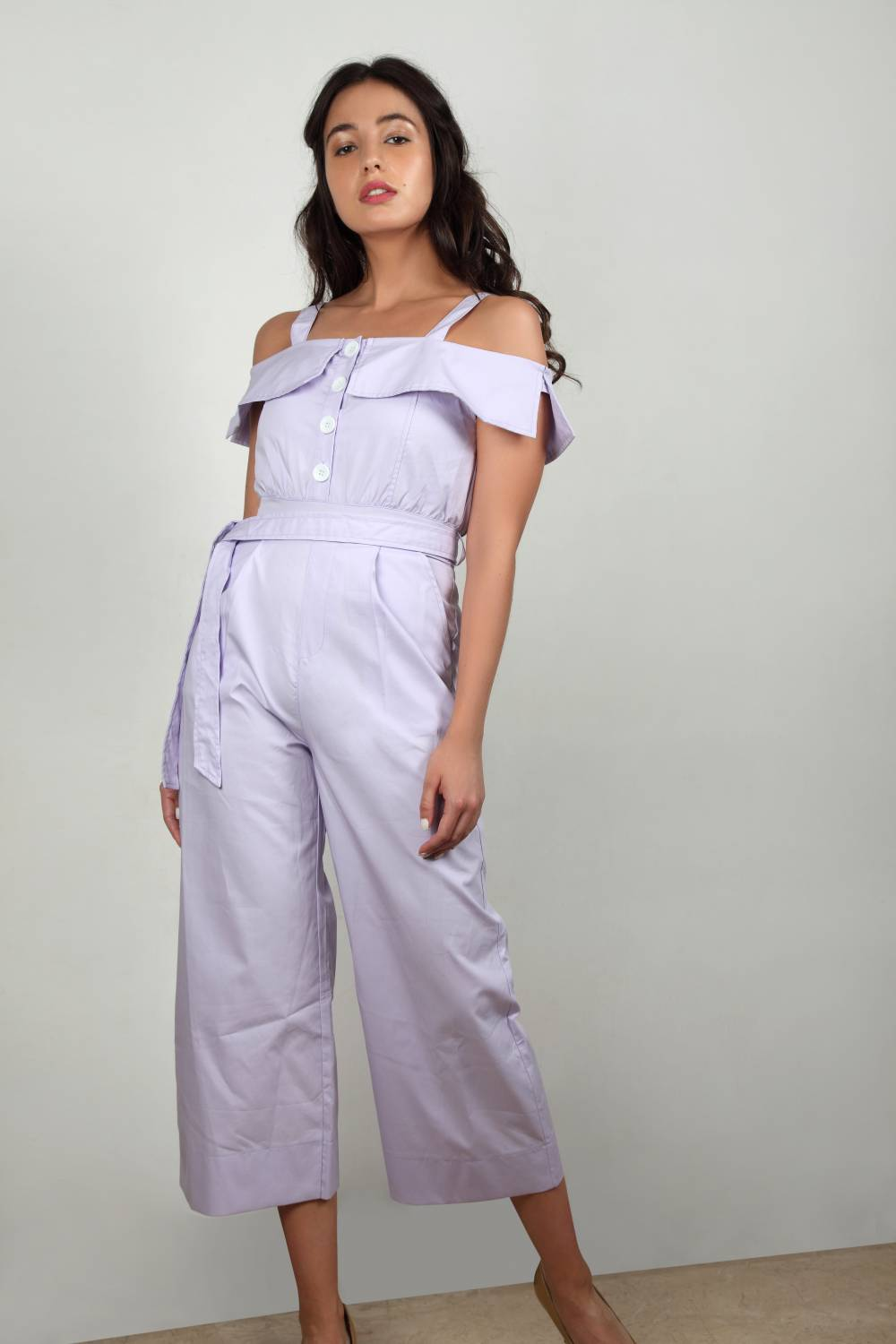 Say No More - Open Shoulder Jumpsuit