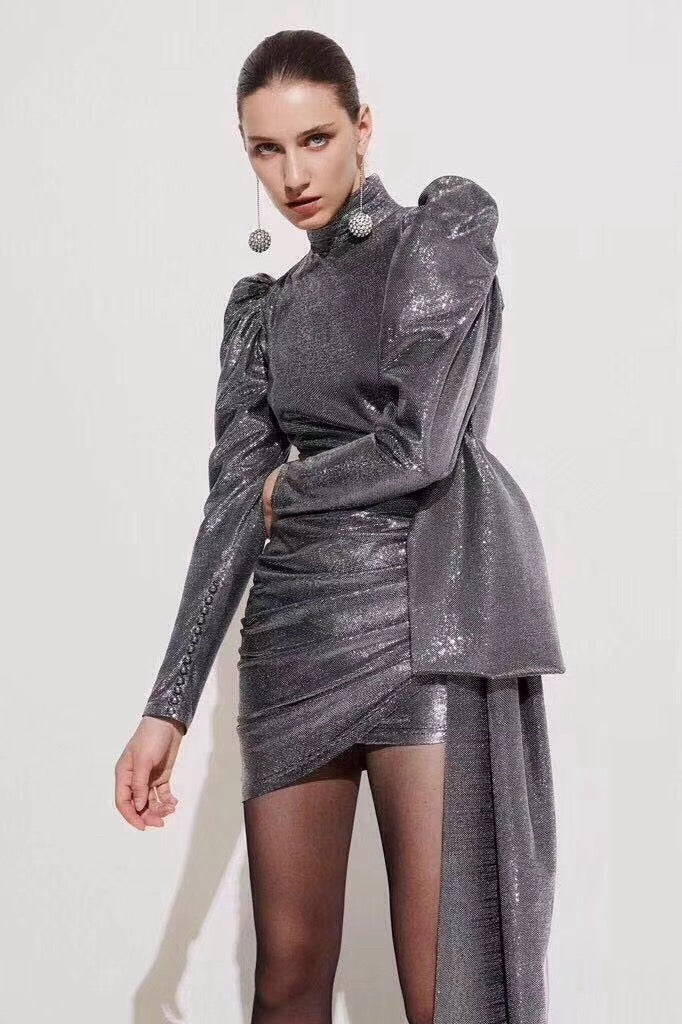 Snowflake - Silver Drape Mini Dress