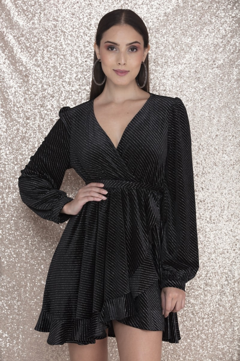 Supernova - Black wrap around Mini Dress